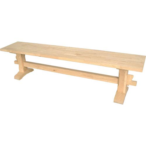 International Concepts Dining Unfinished Wood Trestle Bench