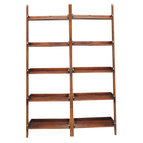 International Concepts Espresso Two Piece Set of Lean to Shelf Units with Five Shelves