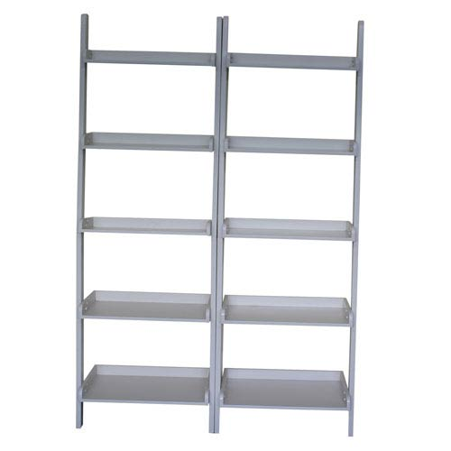 Linen White Two Piece Set of Lean to Shelf Units with Five Shelves