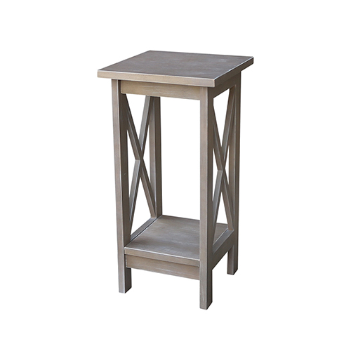 Solid Wood 24 inch X-sided Plant Stand in Washed Gray Taupe