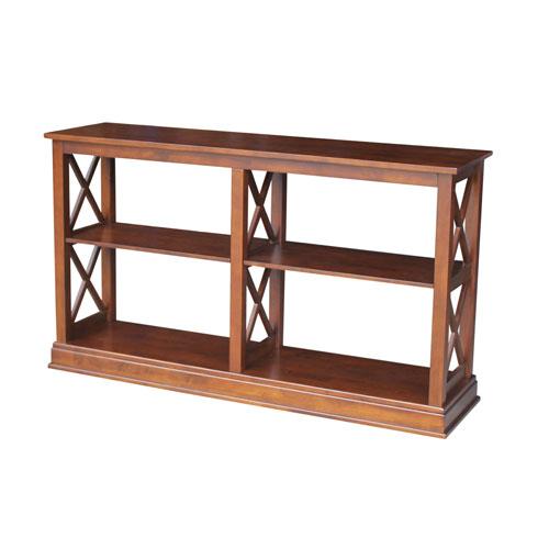 Espresso Hampton Sofa and Server Table with Shelves