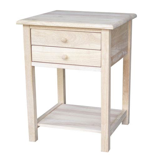 International Concepts Unfinished Wood End Table With Drawers