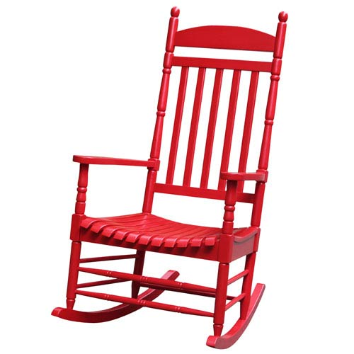 Red Solid Wood Porch Rocker
