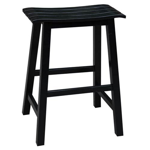 International Concepts Black 24-Inch Slat Seat Counter Height Stool