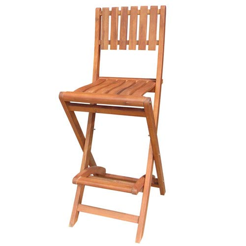 Oiled Stained Folding Stool, Bar Height