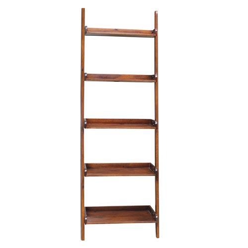 Espresso Lean to Shelf Unit with Five Shelves