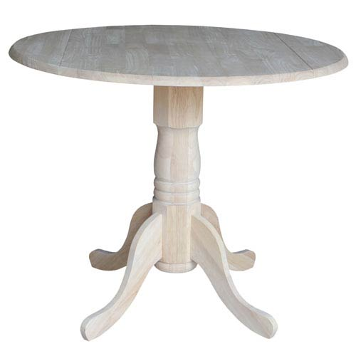 Dining Unfinished Wood Dual Drop Leaf Dining Table
