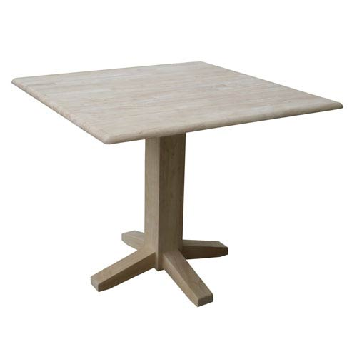 International Concepts Unfinished Square Dual Drop Leaf Dining Table