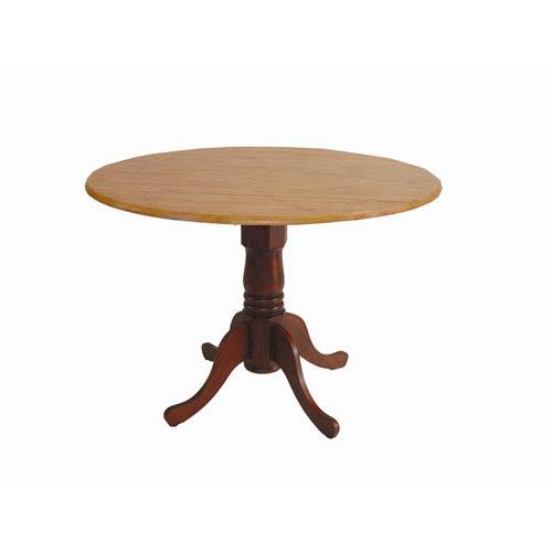 Cinnamon/ Espresso 42-Inch Round Drop Leaf Table