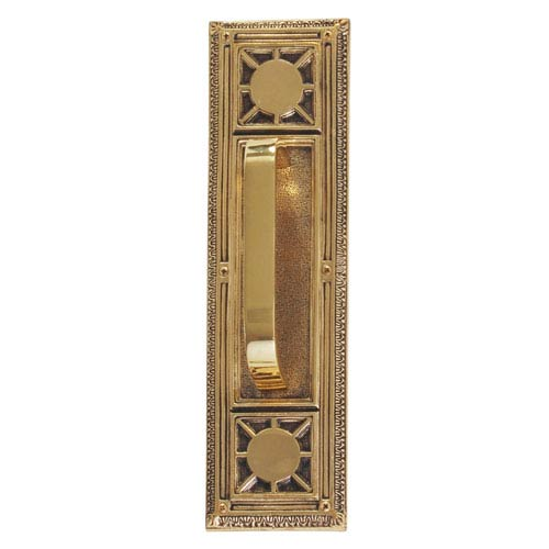 Nantucket Highlighted Brass 13 7/8-Inch Pull Handle and Plate