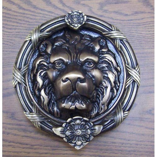 Brass Accents Antique Brass Leo Lion Door Knocker - 8 3/8-Inch