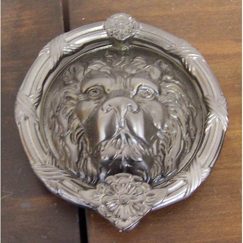 Satin Nickel Leo Lion Door Knocker   8 3/8 Inch