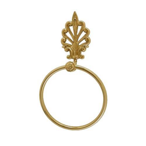 Fleur De Lis European Lacquered Polished Brass Towel Ring