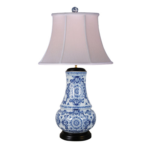 East Enterprise Porcelain Blue and White 31-Inch One-Light Table Lamp