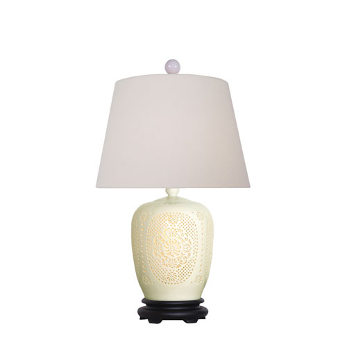 East Enterprise Porcelain White Pierced Bone China 25-Inch One-Light Table Lamp