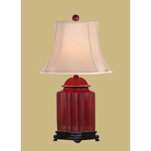 Red One Light Scalloped Jar Table Lamp
