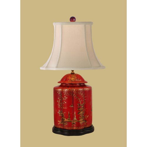 East Enterprise Lacquer Ware One-Light Red Jar Lamp