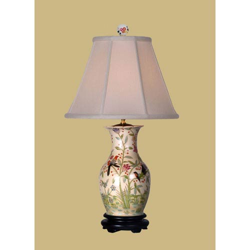 Country table lamps floral table lamps bellacor birds porcelain vase table lamp aloadofball Images
