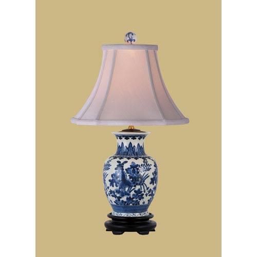 East Enterprise Blue And White One Light Porcelain Jar Table Lamp