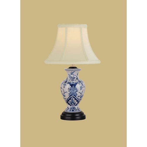 Porcelain Ware One-Light Small Blue and White Lamp