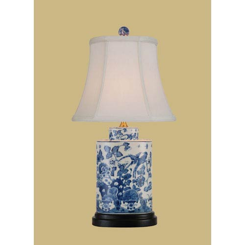 East Enterprise Blue and White One-Light Oval Porcelain Table Lamp