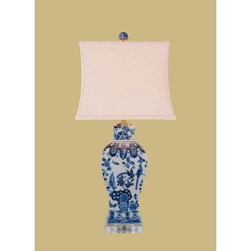 Blue and White Porcelain Square Vase Table Lamp