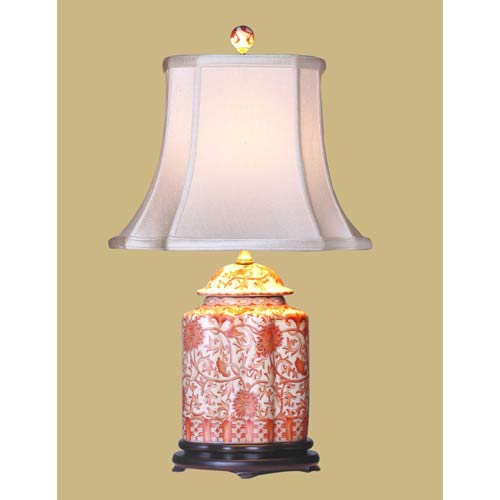 Orange Floral Table Lamp