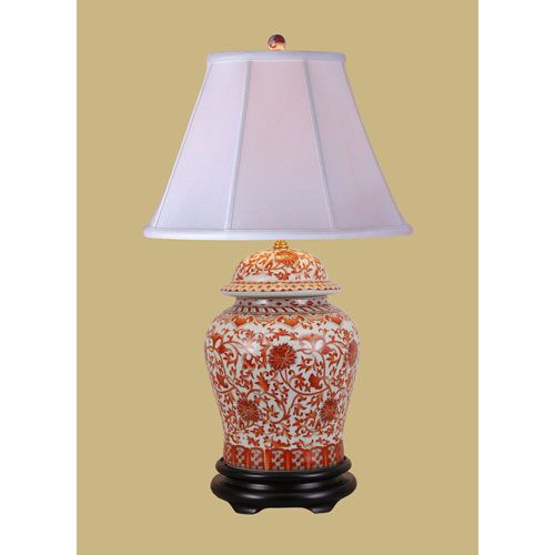 East Enterprise Orange Floral Jar Table Lamp