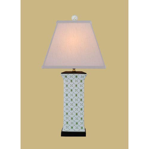 East Enterprise Porcelain Ware One-Light White and Green Vase Lamp