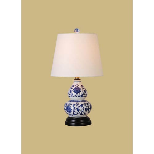 East Enterprise Porcelain Ware One-Light Blue and White Small Lamp