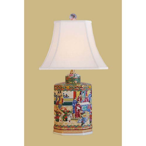 East Enterprise Porcelain Ware One-Light Multicolor Jar Lamp