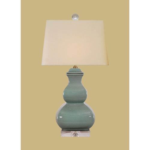 Porcelain Ware One-Light Celadon Square Gourd Lamp