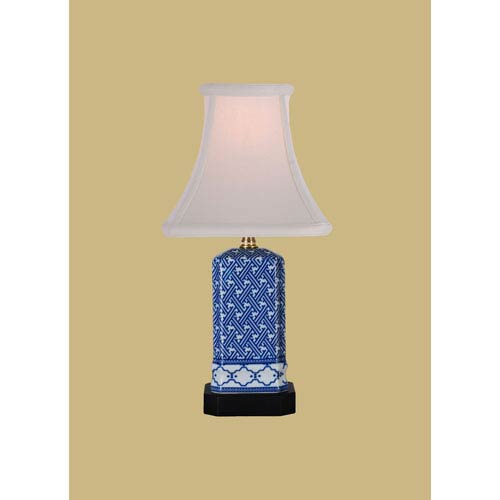 East Enterprise Porcelain Ware One-Light Small Blue and White Lamp