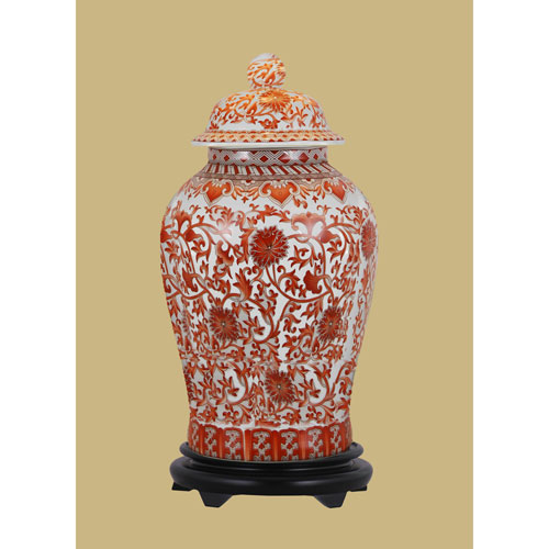 East Enterprise Orange Porcelain Jar