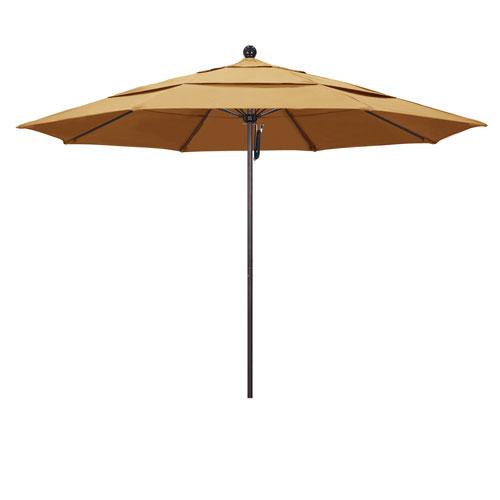 California Umbrella 11 Foot Umbrella Fiberglass Market Pulley Open Double Vent Bronze/Sunbrella/Wheat