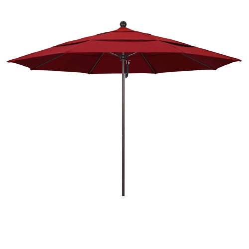 California Umbrella 11 Foot Umbrella Fiberglass Market Pulley Open Double Vent Bronze/Pacifica/Red