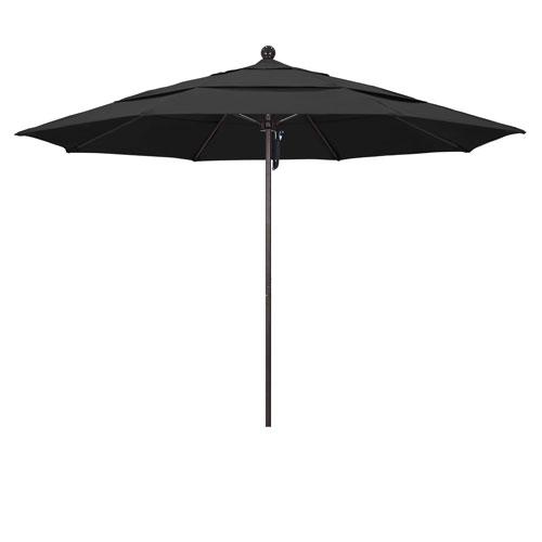11 Foot Umbrella Fiberglass Market Pulley Open Double Vent Bronze/Pacifica/Black