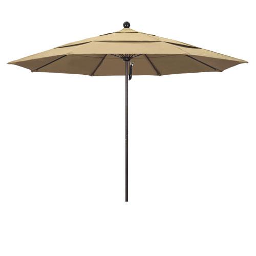 11 Foot Umbrella Fiberglass Market Pulley Open Double Vent Bronze/Pacifica/Beige