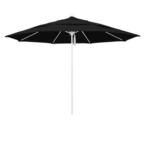 California Umbrella 11 Foot Umbrella Fiberglass Market Pulley Open Double Vent Matte White/Sunbrella/Black