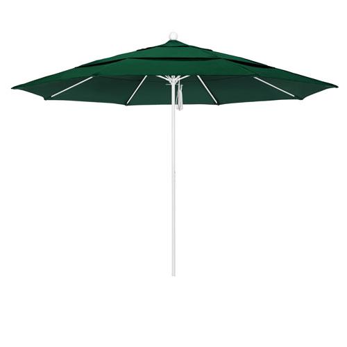 11 Foot Umbrella Fiberglass Market Pulley Open Double Vent Matte White/Sunbrella/Forest Green