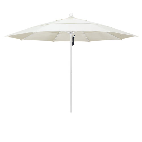 California Umbrella 11 Foot Umbrella Fiberglass Market Pulley Open Double Vent Matte White/Sunbrella/Canvas