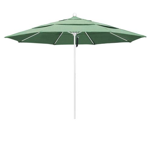 California Umbrella 11 Foot Umbrella Fiberglass Market Pulley Open Double Vent Matte White/Pacifica/Spa