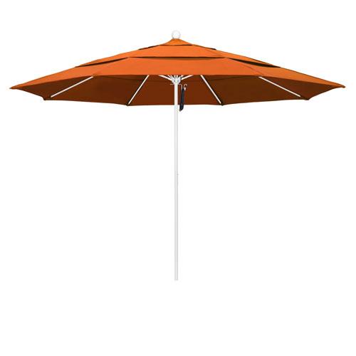 California Umbrella 11 Foot Umbrella Fiberglass Market Pulley Open Double Vent Matte White/Pacifica/Tuscan