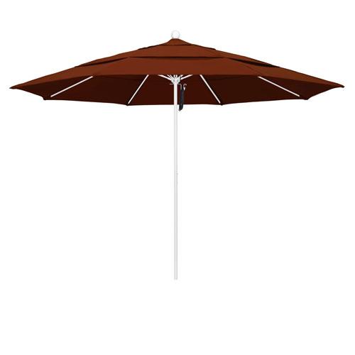 California Umbrella 11 Foot Umbrella Fiberglass Market Pulley Open Double Vent Matte White/Pacifica/Brick
