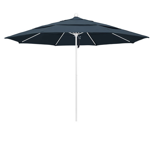 California Umbrella 11 Foot Umbrella Fiberglass Market Pulley Open Double Vent Matte White/Pacifica/Sapphire