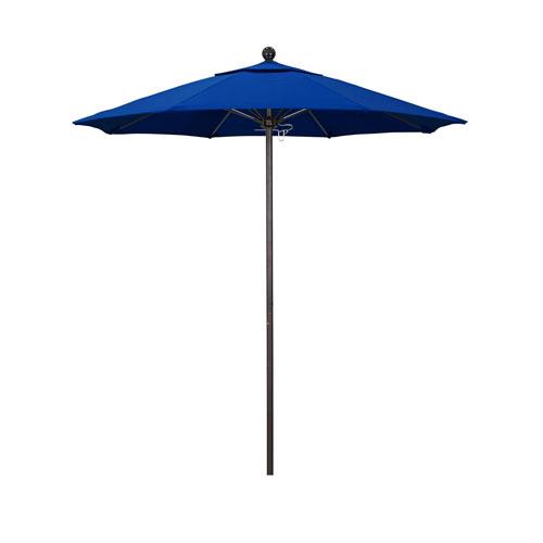 California Umbrella 7.5 Foot Umbrella Fiberglass Market Pulley Open Bronze/Pacifica/Pacific Blue
