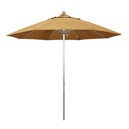 California Umbrella 9 Foot Umbrella Fiberglass Market Pulley Open Anodized/Sunbrella/Wheat
