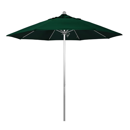 California Umbrella 9 Foot Umbrella Fiberglass Market Pulley Open Anodized/Olefin/Hunter Green
