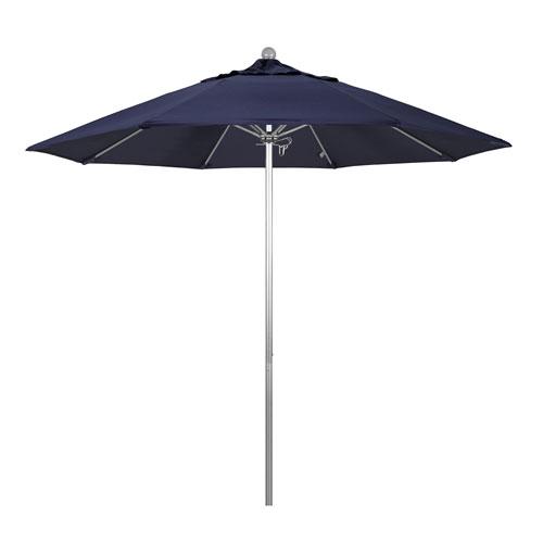 California Umbrella 9 Foot Umbrella Fiberglass Market Pulley Open Anodized/Olefin/Navy Blue
