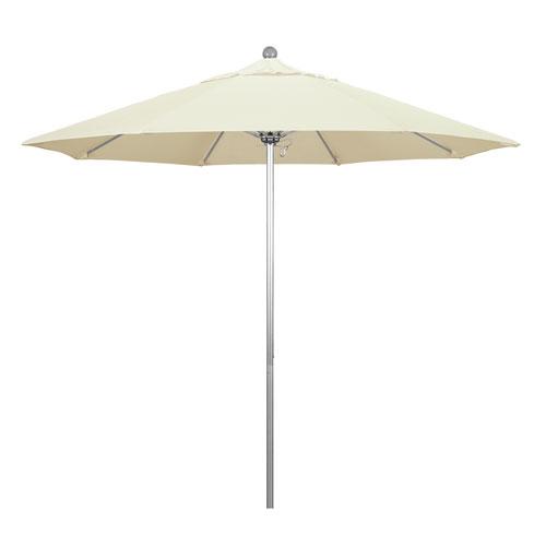 California Umbrella 9 Foot Umbrella Fiberglass Market Pulley Open Anodized/Pacifica/Canvas